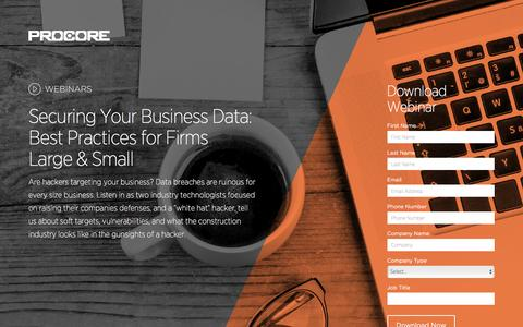 Screenshot of Landing Page procore.com - Securing Your Business Data: Best Practices for Firms Large & Small - captured June 2, 2016
