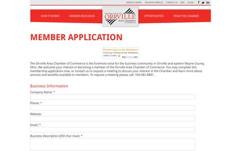 Screenshot of Signup Page orrvillechamber.com - Member - Orrville Area Chamber of Commerce - captured Dec. 2, 2016