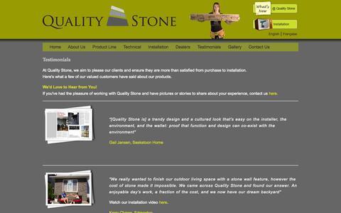 Screenshot of Testimonials Page qualitystoneproducts.com - Quality Stone | Testimonials - captured Oct. 6, 2014