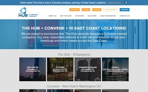 Screenshot of Locations Page thehub.com - The Hub Meeting Centers: Meeting & Conference Rooms PhilaThe Hub - captured Oct. 5, 2016