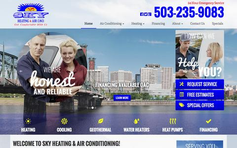 Screenshot of Home Page skyheating.com - Heating Repair Portland, OR & Beaverton, Furnace Installation Lake Oswego & Oregon City | Geothermal HVAC Tigard | Heat Pump Installation & Air Conditioning Service Hillsboro - captured Feb. 4, 2016