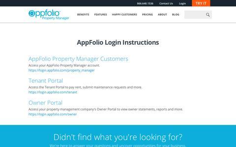 Screenshot of Login Page appfolio.com - Login Instructions | AppFolio - captured July 29, 2016