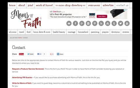 Screenshot of Contact Page momsoffaith.com - Contact - Moms of Faith - captured Aug. 23, 2018