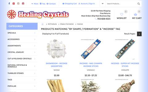 Screenshot of Products Page healingcrystals.com - Products By Shape / Formation - From Healing Crystals Metaphysical Crystal Store - captured Nov. 4, 2018
