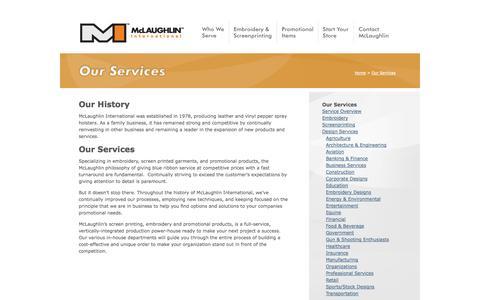 Screenshot of Services Page mclaughlinintl.com - Services - McLaughlin International - captured Oct. 27, 2014