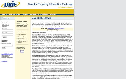 Screenshot of Signup Page drieottawa.org - Disaster Recovery Information Exchange (DRIE) Ottawa Chapter - Join DRIE Ottawa - captured Sept. 30, 2014
