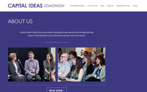 Screenshot of About Page capitalideasedmonton.com - About Us - Capital Ideas EdmontonCapital Ideas Edmonton - captured Dec. 7, 2015