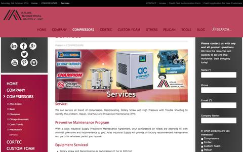 Screenshot of Services Page aishouston.com - Services - captured Oct. 4, 2014