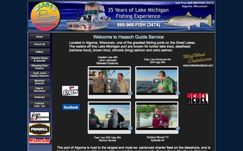 Screenshot of Home Page fishalgoma.com - Haasch Guide Service, Algoma fishing charter, Algoma fishing services, Lake Michigan fishing, lake Michigan charter, fishing charter - captured Oct. 1, 2014