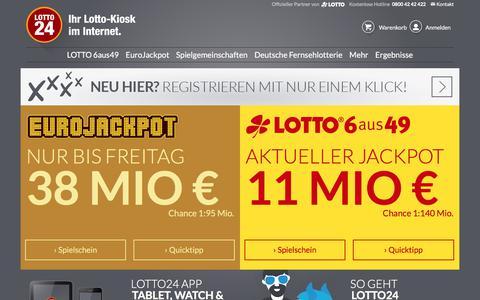 Screenshot of Home Page lotto24.de - LOTTO online spielen im Lotto-Kiosk im Internet – Lotto24.de - captured Sept. 21, 2018