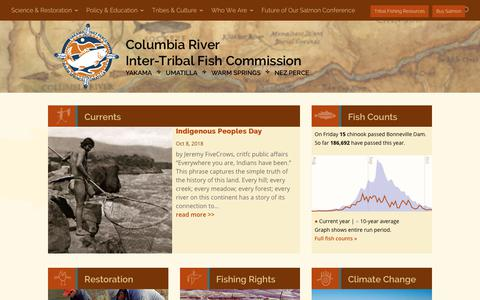 Screenshot of Home Page critfc.org - CRITFC - Putting fish back in the rivers and protecting watersheds - captured Nov. 10, 2018
