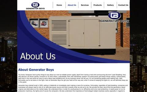 Screenshot of About Page generator-boys.co.za - About Us and Our Goals | Generator Boys | Gauteng - captured Nov. 4, 2018