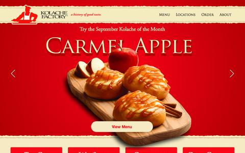 Screenshot of Home Page kolachefactory.com - Kolache Factory - Freshest, Highest Quality and Best Tasting Kolaches - captured Sept. 24, 2014