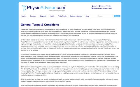 Screenshot of Terms Page physioadvisor.com.au - PhysioAdvisor - Terms & Conditions - captured May 17, 2017