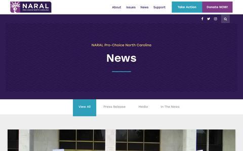 Screenshot of Press Page prochoicenc.org - News - NARAL Pro-Choice North Carolina - captured Oct. 18, 2018