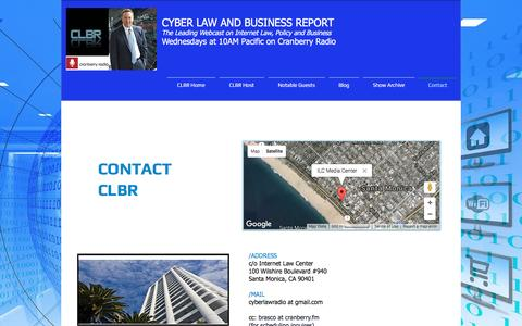 Screenshot of Contact Page cyberlawradio.com - Contact - captured March 28, 2017