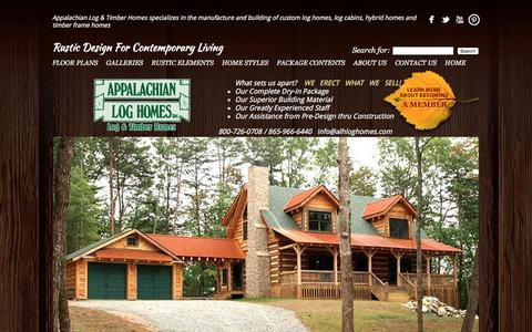 Screenshot of Home Page alhloghomes.com - Appalachian Log & Timber Homes - Rustic Design for Contemporary Living. - captured Feb. 6, 2016