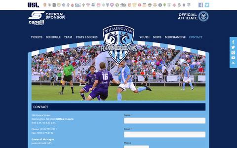 Screenshot of Contact Page wilmingtonhammerheads.com - Contact Us | Wilmington Hammerheads FC - captured Jan. 22, 2016