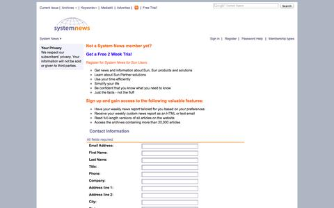 Screenshot of Signup Page Trial Page systemnews.com - Login and Subscribe - captured Oct. 26, 2014