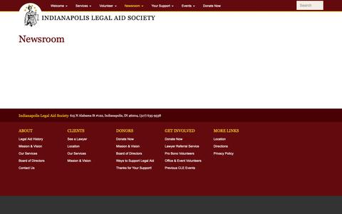 Screenshot of Press Page indylas.org - Newsroom | Indianapolis Legal Aid Society - captured Oct. 11, 2018