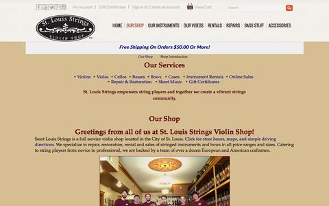 Screenshot of About Page stlstrings.com - Shop Introduction - captured March 17, 2016