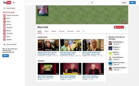 Screenshot of YouTube Page youtube.com - Steve Holt  - YouTube - captured Oct. 22, 2014