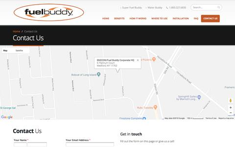 Screenshot of Contact Page fuel-buddy.com - Contact Fuel Buddy - captured Feb. 22, 2018