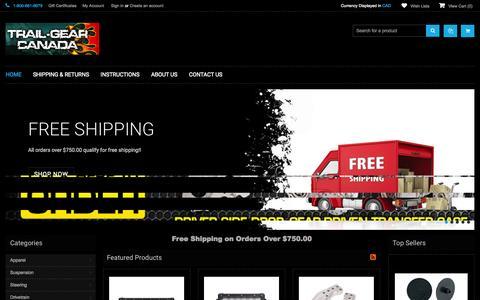 Screenshot of Home Page trail-gear.ca - Trail Gear Canada - captured Jan. 28, 2015