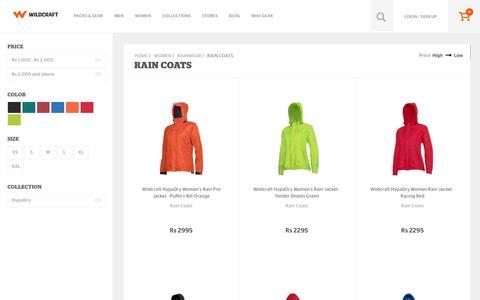 Screenshot of wildcraft.in - Buy Wildcraft Women's Outdoor Raincoats & Rain Jackets Online - captured March 19, 2016