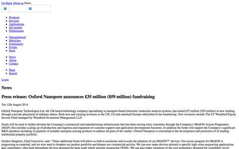 Press release: Oxford Nanopore announces £35 million ($59 million) fundraising