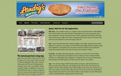 Screenshot of About Page landrysmeatpies.com - Landry's Meat Pies | French Meat Pies MA | Meat Pies MA - captured Oct. 2, 2014