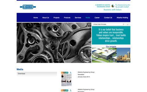 Screenshot of Press Page tecon.ae - Tecon Media - captured Oct. 27, 2017