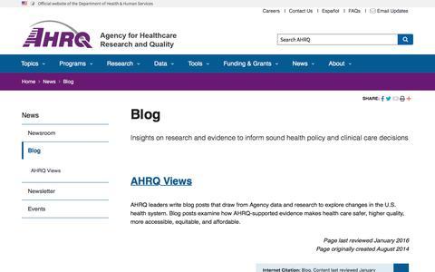 Screenshot of Blog ahrq.gov - Blog | Agency for Health Research and Quality - captured Nov. 11, 2019