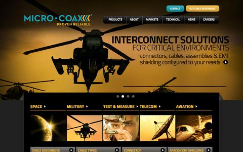 Screenshot of Home Page micro-coax.com - Cable Manufacturers, Cable Assemblies – Micro-Coax, Inc - captured Oct. 6, 2014