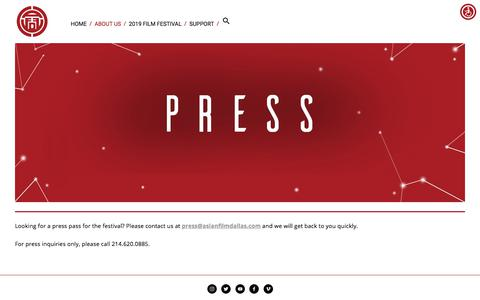 Screenshot of Press Page asianfilmdallas.com - Press — ASIAN FILM FESTIVAL OF DALLAS - captured July 6, 2019
