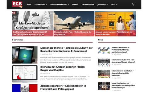 Screenshot of Home Page e-commerce-blog.de - Der E-Commerce Blog für Online Händler | ECB - captured Sept. 2, 2016
