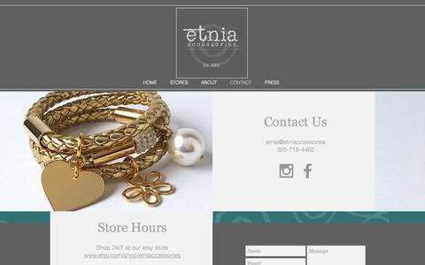 Screenshot of Contact Page etniaccessories.com - CONTACT - captured Aug. 26, 2017