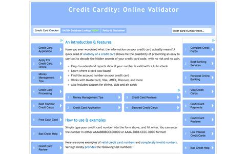 Screenshot of Home Page credit-cardity.com - CreditCardity - the online credit card checker. A reliable credit card validation tool. - captured Dec. 5, 2016