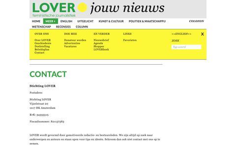 Screenshot of Contact Page tijdschriftlover.nl - Tijdschrift LOVER - Contact - captured Sept. 30, 2018