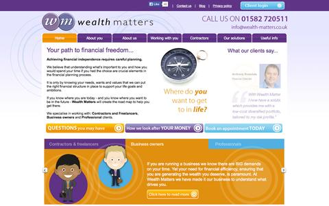 Screenshot of Home Page wealth-matters.co.uk - Home - captured Sept. 30, 2014