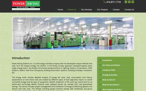 Screenshot of About Page powersavingsystems.com - Introduction, saving solutions in Lighting, HVAC Systems, Boilers,  Compressors, energy saving devices - captured Nov. 10, 2016