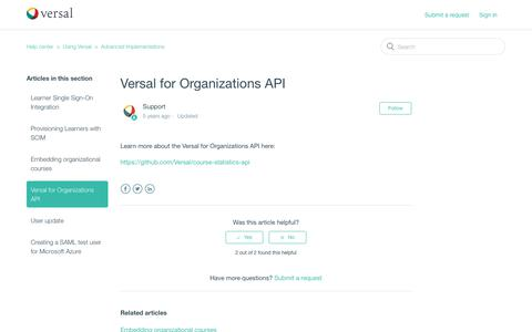 Screenshot of Support Page versal.com - Versal for Organizations API – Help center - captured Dec. 3, 2019