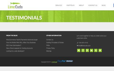 Screenshot of Testimonials Page limecuda.com - Testimonials   LimeCuda - captured Sept. 30, 2014