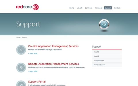Screenshot of Support Page redcore.com.au - Redcore Support - OAMS, RAMS, Support Portal, Contact Support - captured Oct. 2, 2014