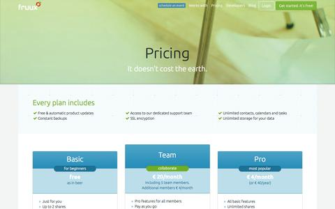 Screenshot of Pricing Page fruux.com - fruux | pricing - captured June 16, 2015