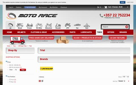 Screenshot of Trial Page motorace.com.cy - Motorcycle Trial  Tires  |Same Day Shipping | Motorace - captured Nov. 17, 2016