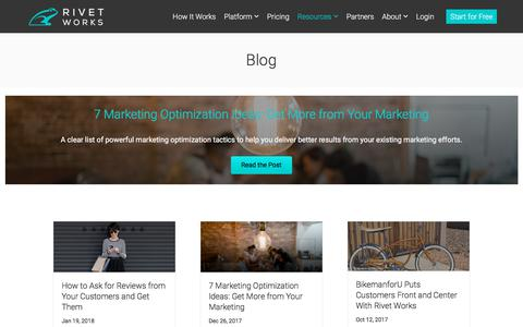 Screenshot of Blog rivet.works - Rivet Works Blog | User-generated content strategies and consumer trends - captured Jan. 25, 2018
