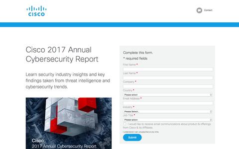 Screenshot of Landing Page cisco.com - Cisco 2017 Annual Cybersecurity Report - captured Feb. 10, 2017