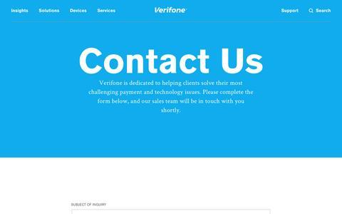 Screenshot of Contact Page verifone.com - Contact Us | Verifone.com - captured April 7, 2017