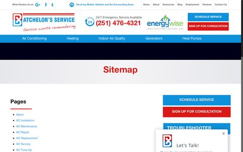 Screenshot of Site Map Page batchelorsservice.com - Sitemap   Batchelor's ServiceBatchelor's Service - captured Nov. 22, 2016